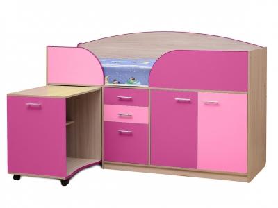 Уголок школьника Юниор-4.1 Ярко-розовый-Светло-розовый