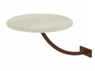 Полка прикроватная круглая Милсон белая-металл коричневый