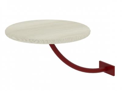 Полка прикроватная круглая Милсон белая-металл красный